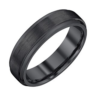 Men's Black Tungsten 6-millimeter Band with Satin and High-polish Finish by Ever One