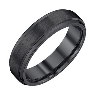 Menu0027s Black Tungsten 6 Millimeter Band With Satin And High Polish Finish By  Ever