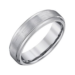 Men's Grey and White Tungsten Satin-polish Band by Ever One