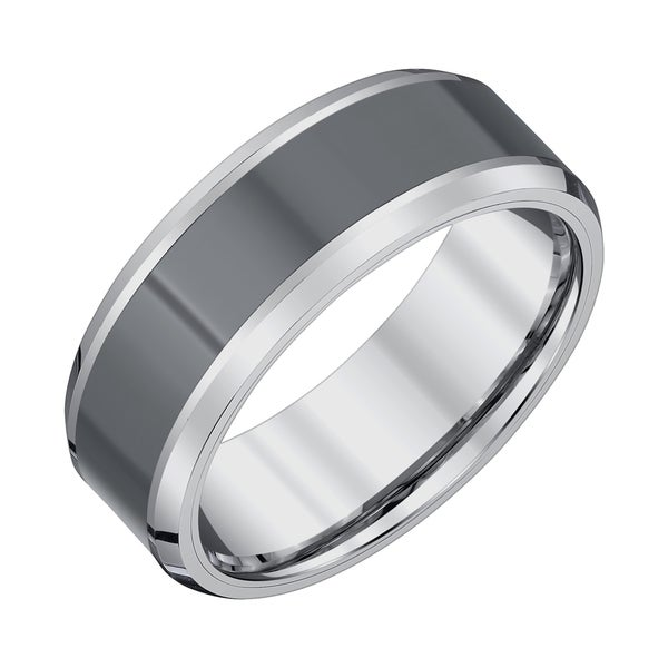 Men's Tungsten Carbide/Black Ceramic High-polish Finish 8-millimeter Beveled-edge Band by Ever One
