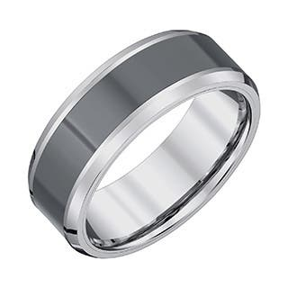 Men's Tungsten Carbide/Black Ceramic High-polish Finish 8-millimeter Beveled-edge Band by Ever One|https://ak1.ostkcdn.com/images/products/13153008/P19879799.jpg?impolicy=medium