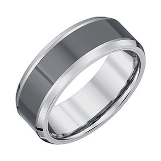 Menu0027s Tungsten Carbide/Black Ceramic High Polish Finish 8 Millimeter  Beveled Edge