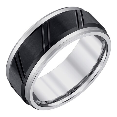 Men's Black and Grey 9-millimeter Tungsten Band with Diagonal Accent Cuts by Ever One