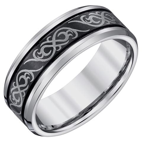 Men's Black and Grey 9-millimeter Tungsten Band by Ever One