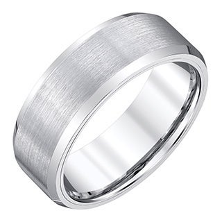 mens white tungsten satin finish band by ever one - Tungsten Mens Wedding Rings