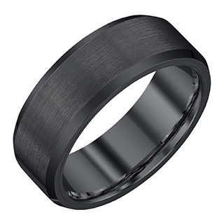Black Tungsten Carbide/Satin 8-millimeter Men's Band by Ever One