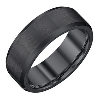 black tungsten carbidesatin 8 millimeter mens band by ever one - Black Mens Wedding Rings
