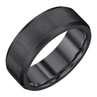 black tungsten carbidesatin 8 millimeter mens band by ever one - Black And White Wedding Rings