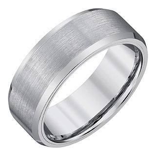 Silvertone Tungsten/Satin Men's 8-millimeter Band by Ever One