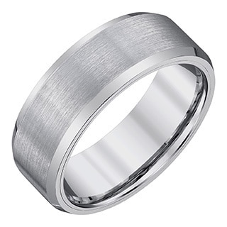 silvertone tungstensatin mens 8 millimeter band by ever one - Tungsten Wedding Rings For Men