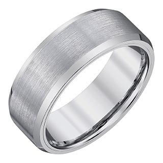 Silvertone Tungsten/Satin Men's 8-millimeter Band by Ever One|https://ak1.ostkcdn.com/images/products/13153013/P19879804.jpg?impolicy=medium