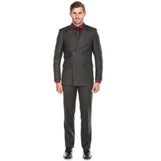 Rivelino Men's Dark Grey Wool Chalk-stripe Slim-fit 3-piece Peak-lapel Suit