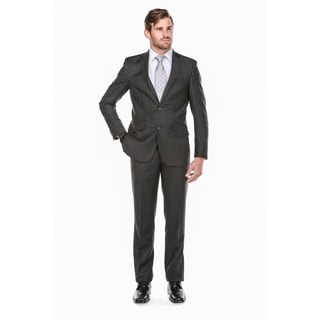 Rivelino Men's Dark Grey Wool Chalk Stripe Slim-fit Suit
