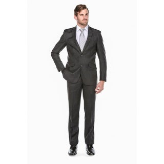 Rivelino Men's Dark Grey 100-percent Wool Chalk Stripe Slim-fit Suit