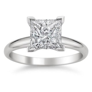 Montebello Jewelry 14k White Gold 1 1/2ct TDW Princess-cut White Diamond Solitaire Engagement Ring (H-I, SI2)