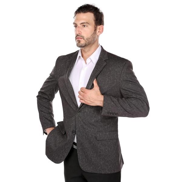 Verno Men's Brown Polyester/Viscose/Spandex Classic-fit Blazer