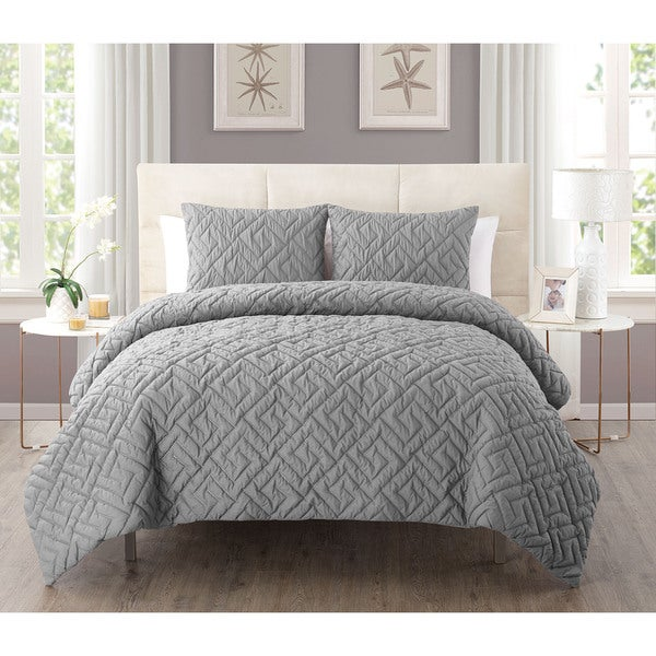 Porch & Den Welton 3-piece Embossed Reversible Down Alternative Comforter Set