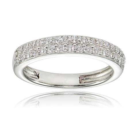 Icz Stonez Sterling Silver Cubic Zirconia 2-row Round-cut Eternity Band Ring