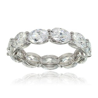 Sterling Silver Cubic Zirconia 6x4mm Oval-cut Eternity Band Ring