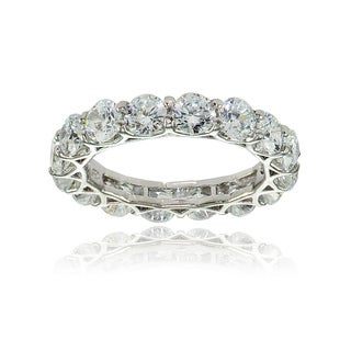 Icz Stonez Sterling Silver Cubic Zirconia 4mm Round-cut Eternity Band Ring