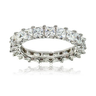 Icz Stonez Sterling Silver Cubic Zirconia 3mm Princess-cut Eternity Band Ring