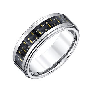 Men's Black and Gold Carbon Fiber 8-millimeter Tungsten Band