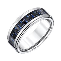 Men's Tungsten Band with Black and Blue Carbon Fiber