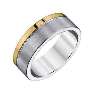 Ever One Men's Dark Grey and Yellow Tungsten Carbide Ring by Ever One