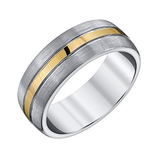Men's Dark Grey and Yellow Center Line Accent 8mm Tungsten Band by Ever One