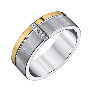 Tungsten and Goldtone Men's Diamond Accent Band