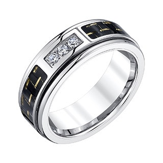 Tungsten Men's 1/6ct TDW Diamond and Carbon Fiber Band (H-I, I1-I2)