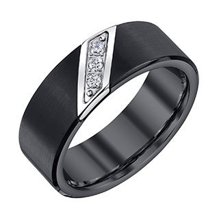 Black Tungsten Men's 1/10ct TDW Diamond Band (H-I, I1-I2)