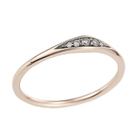 14k Rose Gold Diamond Accent Tapered Ring