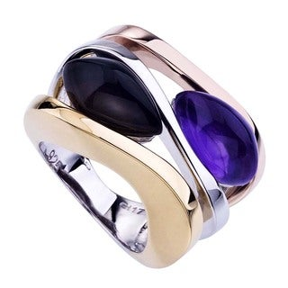 18k Gold over Silver Dyed Quartz Ring (Size 7)