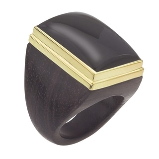 18k Goldplated Silver Square Onyx Ring