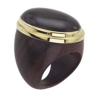 18k Vermeil Gold Oval Onyx Ring