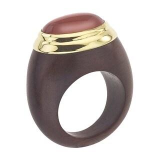 Vermeil, Rosewood & Carnelian Ring - Brown/Orange