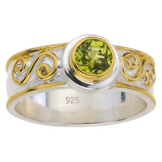 Gold over Silver Peridot Scroll Ring