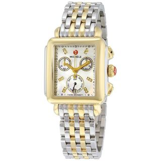 Michele Women's MWW06P000122 'Signature Deco' Chronograph Diamond Two-Tone Stainless Steel Watch