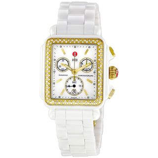 Michele Women's MWW06F000003 'Deco' Chronograph Diamond White Ceramic Watch