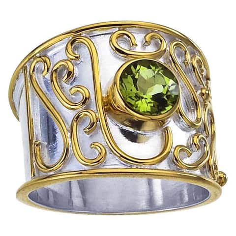 Sterling Silver Peridot Scrollwork Cigar Band Ring - Green