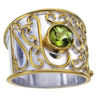 Sterling Silver Peridot Scrollwork Cigar Band Ring