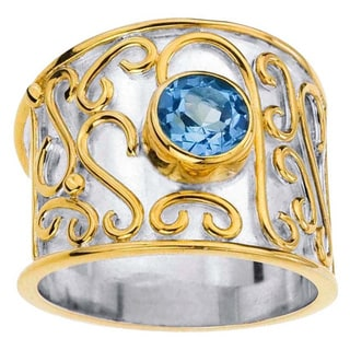 Sterling Silver Blue Topaz Cigar Band Ring