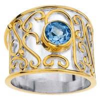 Sterling Silver Blue Topaz Cigar Band Ring