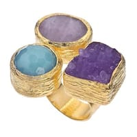 18k Gold over Silver Druzy and Quartz Floating Ring