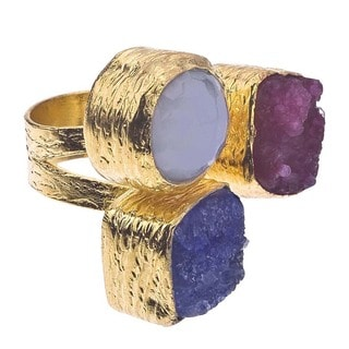 18k Gold over Silver Druzy and Chalcedony Floating Ring
