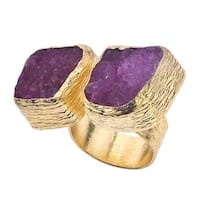 18k Gold over Silver Cherry Druzy Floating Ring