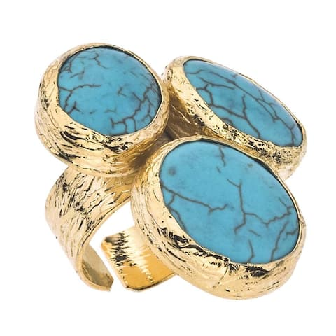 18k Gold over Silver Turquoise 3-stone Ring - Blue