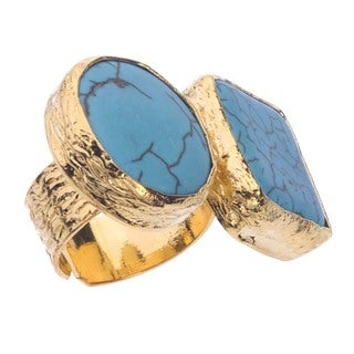 18k Gold over Silver 2-stone Turquoise Ring