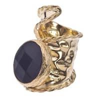 18k Gold over Silver Adjustable Onyx Ring - Black